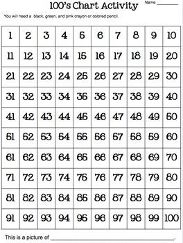 100's Chart Hidden Bunny Picture