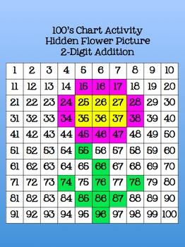 100's Chart Hidden Flower Picture 2-Digit Addition