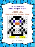 100's Chart Hidden Penguin Picture Activity 1 Less, 1 More, 10 Less, and 10 More