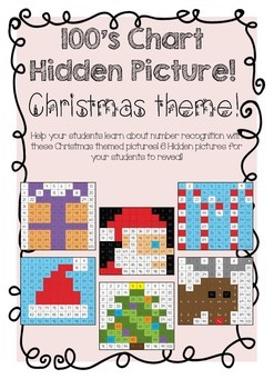 100's Chart Hidden Pictures- Christmas Theme!