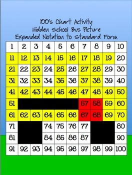 100's Chart Hidden School Bus Picture Expanded Notation to