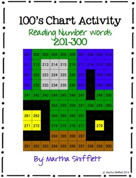 100's Chart Hidden Tractor Picture Activity Reading Number Words 201-300
