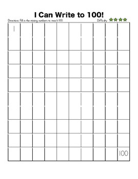 100s Chart - Hundreds Chart - Write to 100 - Fill in Missing Numbers