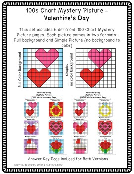 100s Chart Mystery Pictures - Valentine's Day - Math Place Value