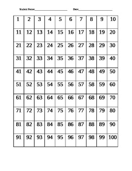 100's Chart Numeration