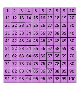 100s Chart Puzzle