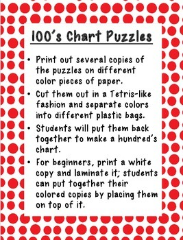 100's Chart Puzzles