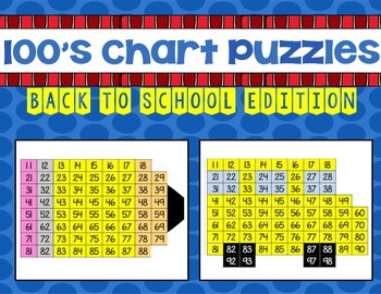 100's Chart Puzzles: Back to School