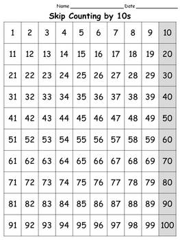 100s Chart: Skip Count by 10s - Full Page - Portrait -King Virtue