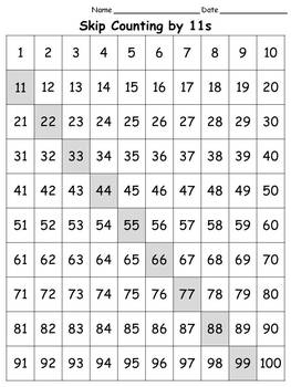 100s Chart: Skip Count by 11s - Full Page - Portrait - Kin
