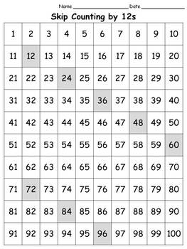 100s Chart: Skip Count by 12s - Full Page - Portrait - Kin