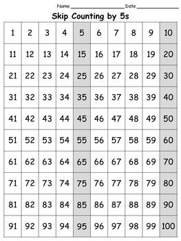 100s Chart: Skip Count by 5s - Full Page - Portrait -King Virtue