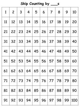 100s Chart: Skip Count by ___s (Blank) - Full Page - Portrait - King Virtue