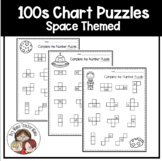 100s Chart Space Themed Number Puzzles