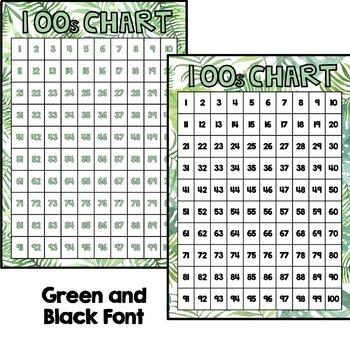 100s Chart - Tropical Leaf