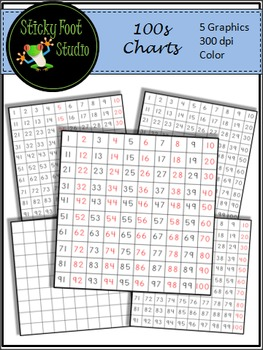 100s Charts Clip Art For Math