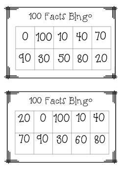 100s Facts Bingo Game