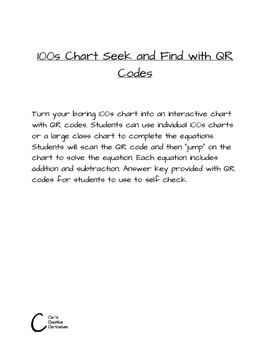 100s chart seek and find with QR codes