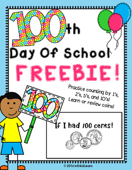 100th Day of School Counting Money Book- FREE