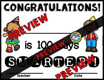 100th DAY OF SCHOOL ACTIVITIES KINDERGARTEN (100 DAY SMARTER CERTIFICATES)