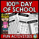 100TH DAY OF SCHOOL ACTIVITIES KINDERGARTEN WORKSHEETS AND MORE FUN PACKET