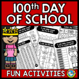 100TH DAY OF SCHOOL KINDERGARTEN ACTIVITIES (WORKSHEETS AND MORE)