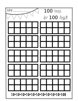 100th Day 10 Frame Activity for Treats