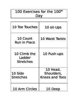 100th Day of School - 100 Exercises for the 100th Day of School