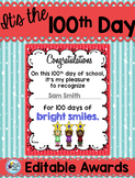 100th Day of School Awards