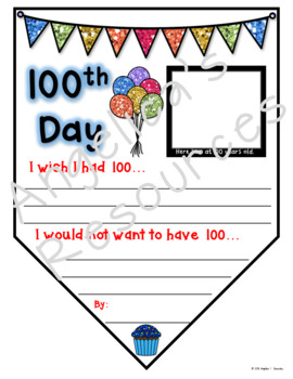 100th Day of School  Activities : 100th Day Pennants - Writing Craftivity