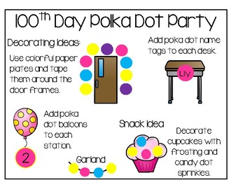 100th Day Of School - A Polka Dot Party
