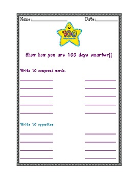 100th Day Activities Common Core (English Language Arts)