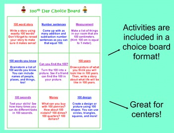100th Day Activities and Choice Board