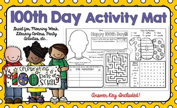 100th Day Activity Mat - A Page FULL Of Fun 100th Day Activities!
