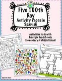 100th Day Activity Pages in Spanish Hundredth Day