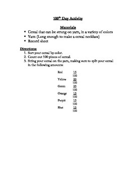 100th Day Activity - Relating Percents, Decimals, and Fractions