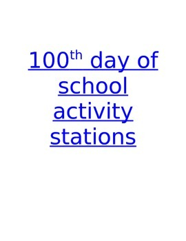 100th Day of School Activity Stations