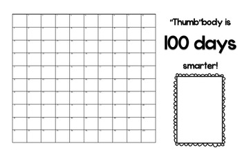 "100th Day Activity - ""Thumb""body is 100 Days Smarter"