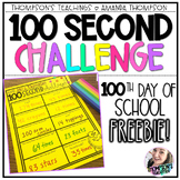 100th Day Activity   Timed Challenge   FREEBIE