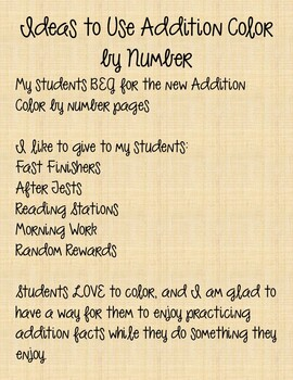 100th Day Addition Color by Number | Basic Addition Facts | 100th Day of School
