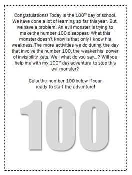 100th Day Adventure Booklet