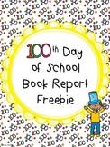 100th Day Book Report Freebie