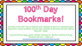 100th Day Bookmarks Freebie!