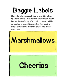 100th Day Bulletin Board, Parent Letter and Baggie Labels