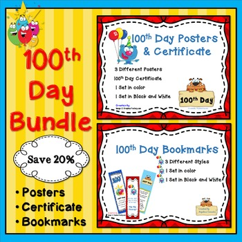 100th Day of School Bundle: Posters, Certificates, and Bookmarks