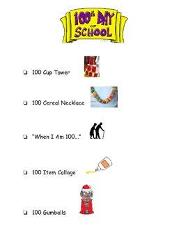 100th Day Centers - Checklist