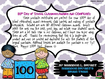 100th Day Classroom Awards and Certificates