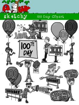100th Day Clipart Graphics, 300dpi Color Grayscale, Black lined Transparent Back