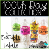 100th Day of School - Collection Letter and EDITABLE Labels