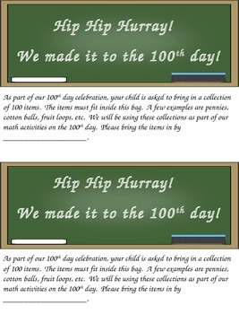 100th Day Collection Note to Parents